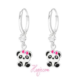 zilveren kinderoorbellen panda roze strikje  + Swarovski® kristallen