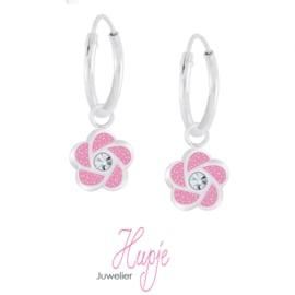 zilveren creolen roze glitter bloem + kristal