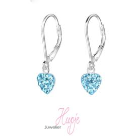 zilveren kinderoorbellen hartje blauwe kristallen brisure sluiting
