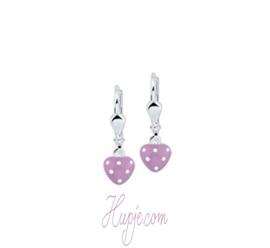 zilveren oorbellen hartje lila met brisure sluiting