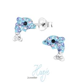 zilveren kinderoorbellen Blue sparkling Dolphin