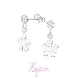 zilveren kinderoorbellen Frozen hangers + kristal