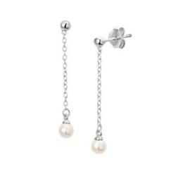 zilveren oorbellen parel hangers