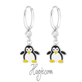 Silberne Kinderohrringe Kreolen Pinguin + Swarovski® Kristalle