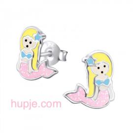 zilveren kinderoorbellen zeemeermin roze glitter