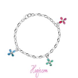 zilveren kinderarmband bloem blauw groen roze