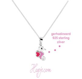 Silbernes Seepferdchen Kinderkette rosa