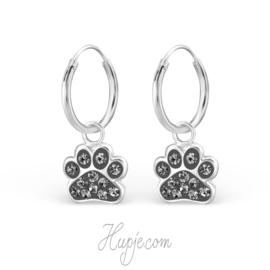 zilveren kinderoorbellen hondenpootjes black diamonds