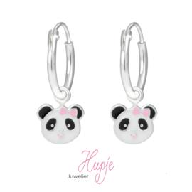 zilveren kinderoorbellen creolen panda roze strikje Premium