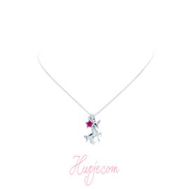 Silberne Kinderkette magisches Einhorn Stern rosa Kristalle