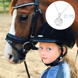 zilveren kinderketting paardenhoofd met stijgbeugel