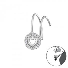gerhodineerd zilveren  Art oorbel hartje  (per stuk)