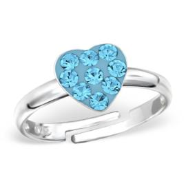 zilveren kinderring hartje blauwe kristallen