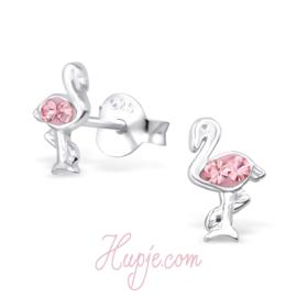 Silberne Ohrringe Flamingo rosa Kristall