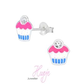 zilveren kinderoorbellen creolen cupcake met glitter + kristal