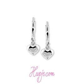 zilveren oorbellen hartjes zilver met brisure sluiting