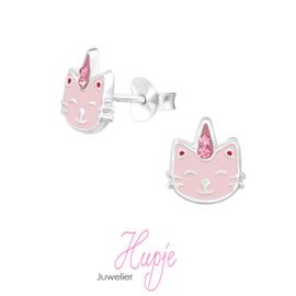 zilveren kinderoorbellen unicorn cat roze kristallen