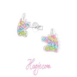 zilveren kinderoorbellen eenhoorn Queen + regenboog kristallen