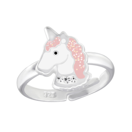 zilveren kinderring sparkling unicorn