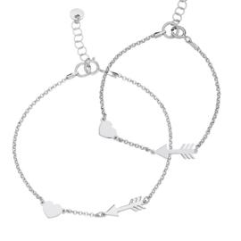 zilveren moeder-dochterarmbandje hartje + pijl