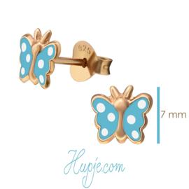 zilveren kinderoorbellen vlinder rosegoud blauw witte stip