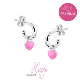 zilveren kinderoorbellen roze hartje