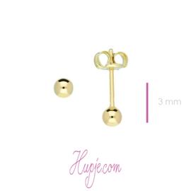 14 karaat gouden oorbellen bol 3 mm