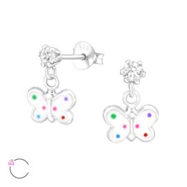 zilveren kinderoorbellen vlinder met Swarovski kristal