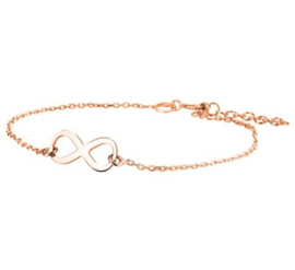 zilveren rose plated armband infinity