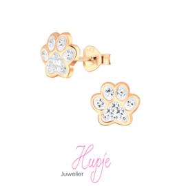 zilveren kinderoorbellen hondenpootje rosegoud en kristallen