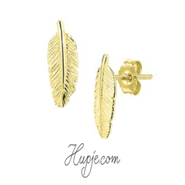 Silberne Ohrringe Feder Gelbgold