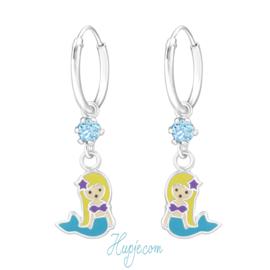 zilveren kinderoorbellen zeemeermin blauw + Swarovski® kristallen