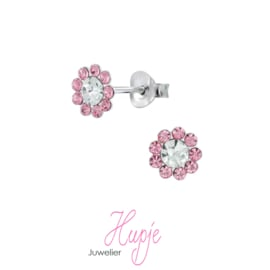 zilveren kinderoorbellen bloem roze kristal