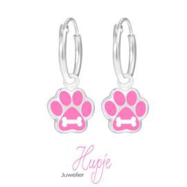 zilveren kinderoorbellen hondenpootjes roze met botje