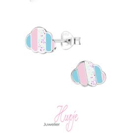 zilveren kinderoorbellen wolk pastel kleuren glitter