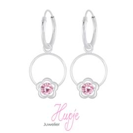 zilveren kinderoorbellen bloem Flower Cirkle roze kristallen