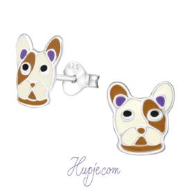 zilveren kinderoorbellen bulldog bruin wit