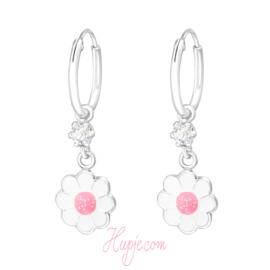 zilveren oorbellen bloem roze glitter met kristal