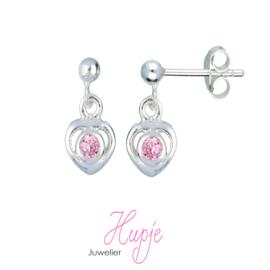 zilveren oorhangers hartje roze kristal