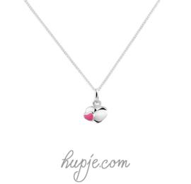 Silberne Kinderkette Herz Silber und rosa