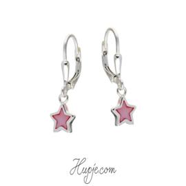 zilveren kinderoorbellen ster roze parelmoer