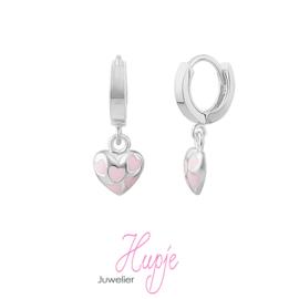 zilveren creolen roze hartjes