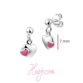 zilveren kinderoorbellen hartje roze en zilver
