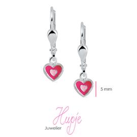zilveren oorbellen hartje roze brisure sluiting