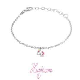 gerhodineerd zilveren kinderarmband eenhoorn roze