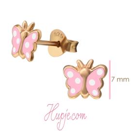 zilveren kinderoorbellen vlinder rosegoud roze witte stip