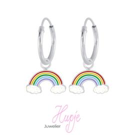 zilveren kinderoorbellen regenboog glitterwolk (premium)