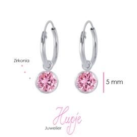 zilveren creolen +  hanger roze Zirkonia