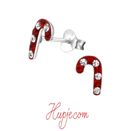 zilveren oorbellen snoep stokje kristallen