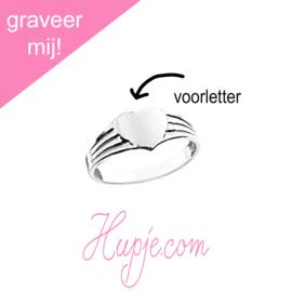 zilveren graveer ring hart
